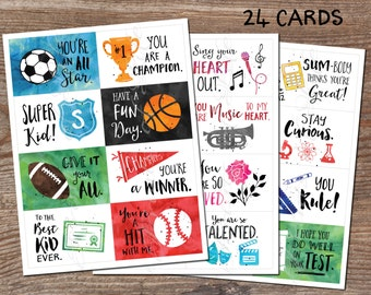 Lunch box cards. Set 4. Sports Music School. Instant download printable PDF. 24 encouragement cards. Inspirational notes for child, kids.