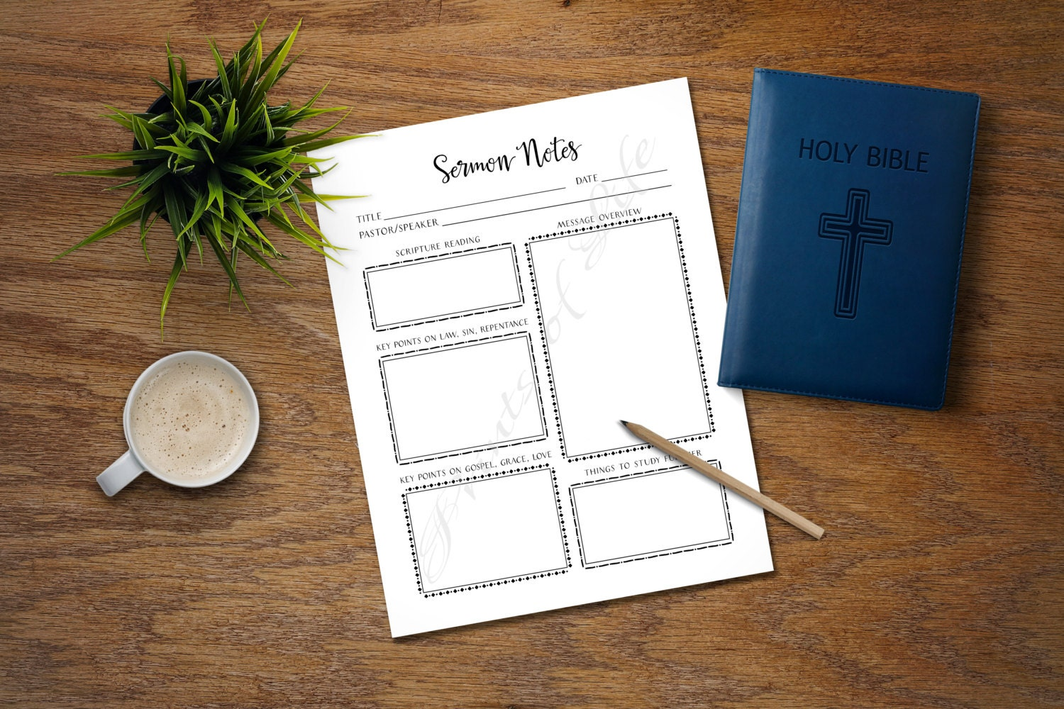 Sermon Notes  PDF printable  Instant download  Worship Notes for adults   Church journal  Bible study planner  Worksheet  Scripture  Lesson