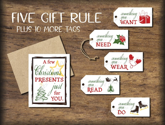 5 Gift Rule Tags & Christmas Card. 4 Gift Rule Instant | Etsy