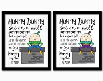 Nursery rhyme print. Humpty Dumpty sat on a wall. Instant download printable. Kids room. Play room. Boy Girl. Wall art. Home decor.