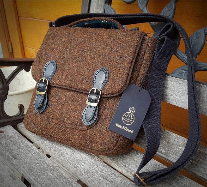 Tweed wool Satchel,Messenger Cross Body Hand bag,NEW,UK Seller,Xmas Gift.