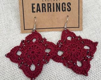 Beaded Large Royal Earrings (Deep Red)