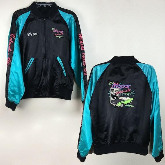 Black Aqua Turqoise Silk Satin Embroidered Mopar Jacket Vintage Large