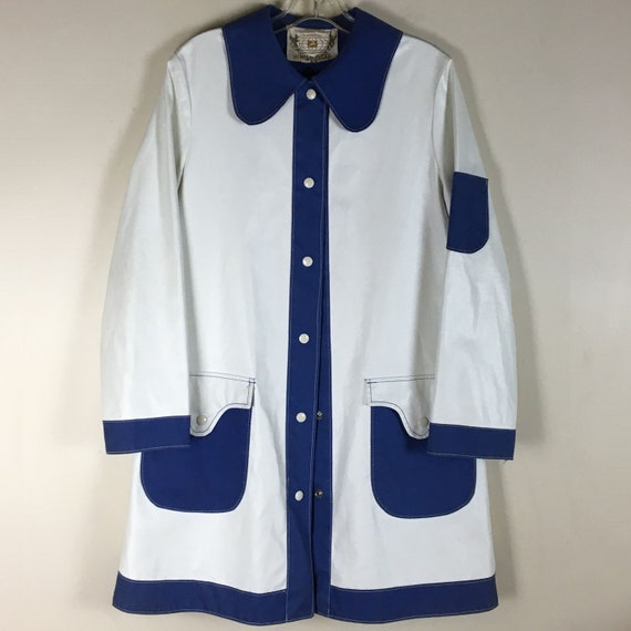White Stag White Vinyl Raincoat with Blue Fabric T