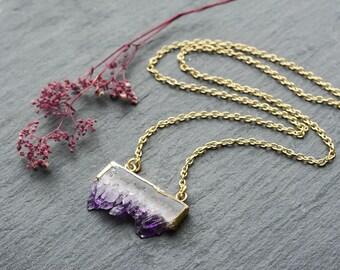 Amethyst Crystal Agate Slice Necklace- Healing Quartz Boho Vintage Gold Dipped Jewelry -Bohemian Druzy Jewellery -Gift -Semi Precious Stone