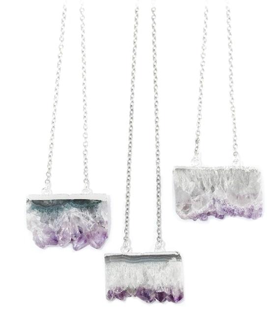 Amatista Cristal curativo Cuarzo Cluster necklace-silver boho-bohemian Piedra Regalo
