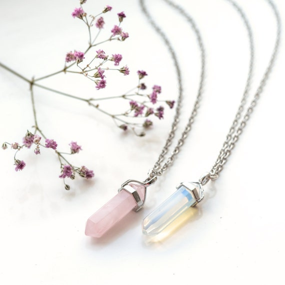 Fluorite Crystal Bullet Stone Necklace-Boho Silver-Quartz Jewellery Gift-Chakra