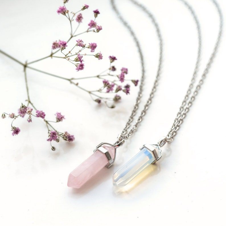 Rosa Cristal De Cuarzo Rosa Bala Piedra necklace-vintage Plata-jewellery-healing
