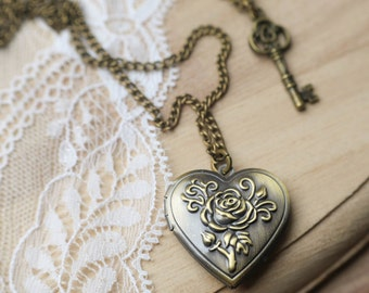 Love Locket & Key Charm Necklace -Bronze Heart Jewellery - Vintage Style Gold Jewelry - Long Necklace