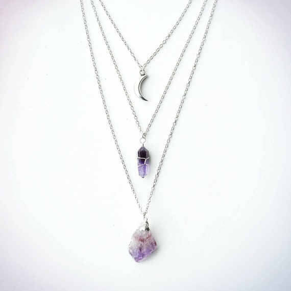Triple Layer Chain Necklace Quartz Amethyst Crystal Gem Stone Boho Jewellery