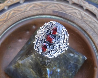 Garnet ring, dark red ring, garnet rings, oxidized silver ring, garnet rings, birthstone ring, gothic ring, goth ring, oxidized silver ring