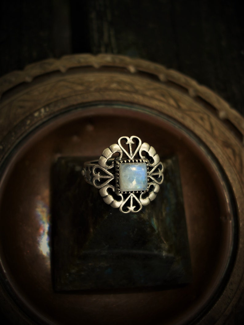 oxidized sterling silver rings Moonstone ring size 7 12