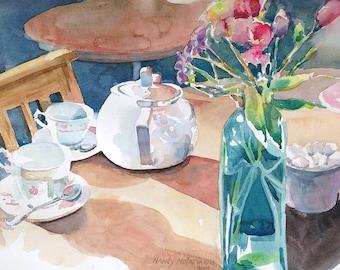Original Watercolor Afternoon Tea