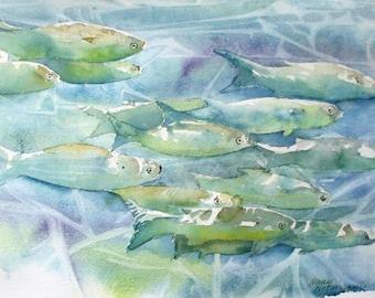 Underwater Fish Original Watercolor Painting