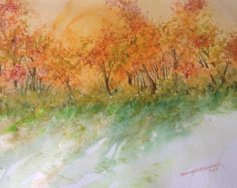 Glowing Autumn Foliage Print of Original Watercolor Painting