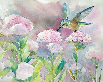 Hummingbird in Flowers Original Watercolor
