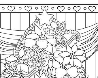Christmas coloring page christmas treats holiday coloring for Selling coloring pages on etsy