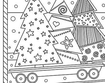 christmas coloring page christmas treats holiday coloring book adult coloring page xmas santa train