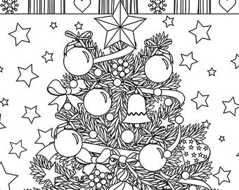 Christmas coloring page - Christmas Treats Holiday Coloring Book - Adult Coloring Page - Holiday Xmas Tree