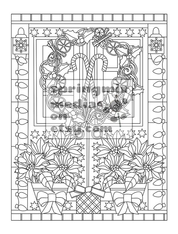 Christmas coloring page - Holiday Xmas Home - Christmas Treats Holiday  Coloring Book - Adult Coloring Page