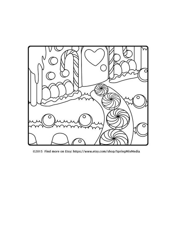 Navidad colorear page página de colorear de casa de pan de | Etsy