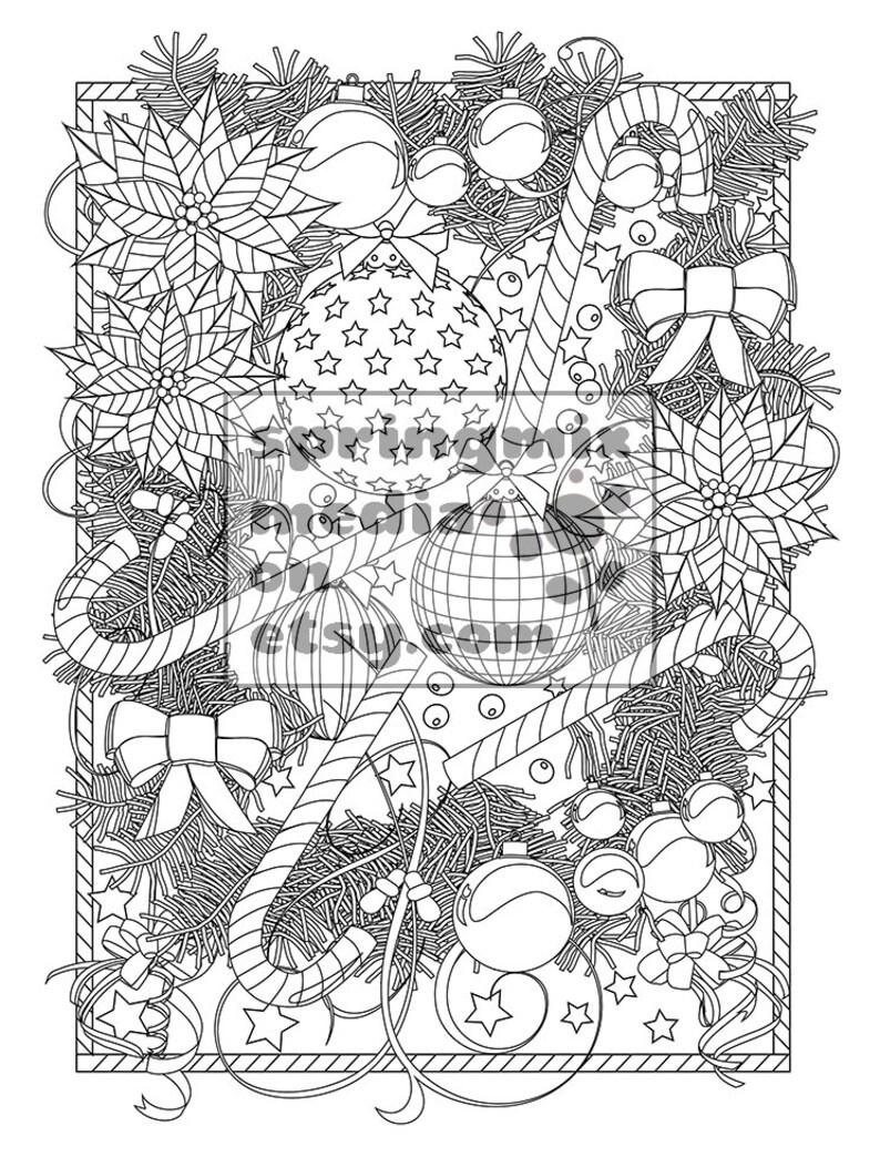 Coloriage Couronne De Noel.Noël Coloriage Couronne De Noël Noël Noël Traite Les Vacances Coloriage Livre Page De Coloriage Adulte