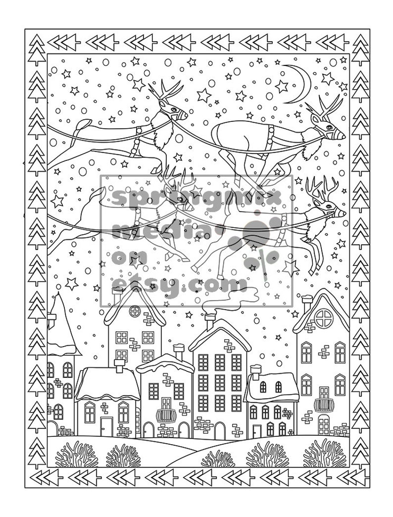 Christmas coloring page Holiday Reindeer Christmas Treats | Etsy
