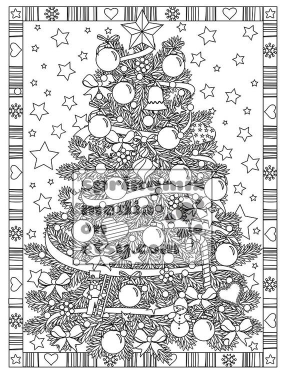 Navidad para colorear página árbol de Navidad trata | Etsy