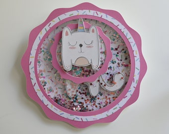 Donna 3D shaker - Kitty donna party decorations shaker - 3D Customized shaker - party decoration shaker - Layered papercut decoration shaker