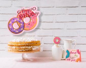 Digital printable Donut Birthday Party Kit - Printable Birthday party Kit - Donut Birthday Party