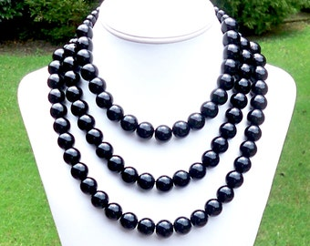 Triple Strand Black Necklace Three Strand Black Necklace 3 Strand Black Necklace Triple Strand Necklace Black STATEMENT NECKLACE 14mm Beads