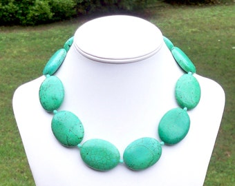 Chunky Green Necklace Large Green Gemstone Necklace Green Turquoise Necklace 30mm x 40mm Green Oval Gemstone Necklace - FABULOUS COLOR