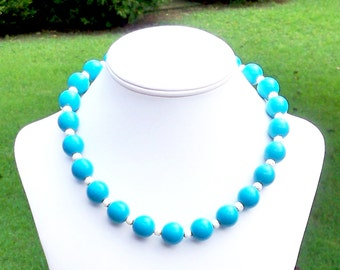 Chunky Teal Necklace Chunky Aqua Necklace Chunky Turquoise Necklace Chunky Blue Necklace Lightweight Bead Necklace 16mm Round Bead Necklace