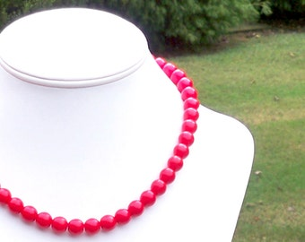 Red Beaded Necklace Simple Red Bead Necklace 10mm Red Bead Necklace Red Czech Glass Beaded Necklace 18 Inch Red Necklace Everyday Necklace