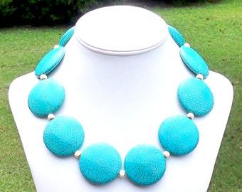 LARGE TURQUOISE NECKLACE Chunky Turquoise Necklace Turquoise Statement Necklace Big Turquoise Necklace 40mm Round Turquoise Necklace Tribal