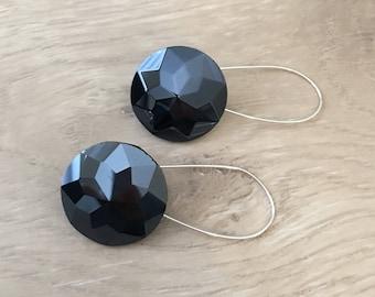 Navy Blue Earrings Navy Earrings Metallic Earrings Button Earrings Sparkle Earrings Bridal Earrings Dark Navy Earrings Dangle Earrings Blue