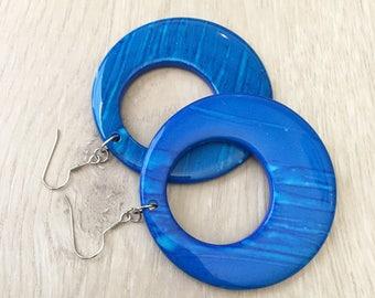 Blue Statement Earrings Large Blue Earrings Blue Circle Earrings Hip Hop Earrings Chunky Blue Earrings Vintage Look Earrings Giant Earrings