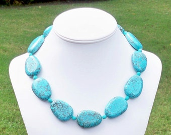 Unique Turquoise Necklace Chunky Turquoise Statement Necklace Chunky Turquoise Necklace 30mm Turquoise Necklace Aqua Gemstone Necklace