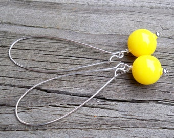 Yellow Dangle Earrings Yellow Earrings Long Yellow Earrings Sunny Yellow Earrings Bright Yellow Earrings Bridal Party - Multiples Available