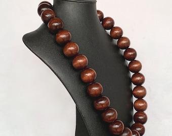 BOHO Bulky Dark /& Natural Carved Wood Bead Single Strand Necklace
