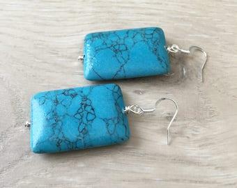 Blue Gemstone Earrings Blue Turquoise Earrings Large Blue Earrings Long Blue Earrings Chunky Blue Earrings Rectangular Blue Earrings Big