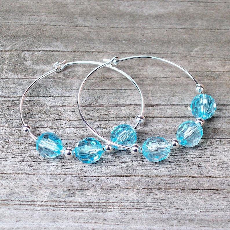Light Blue Hoop Earrings Clear Blue Hoop Earrings Blue Beaded Hoop Earrings Blue Czech Glass Hoop Earrings 30mm Round Silver Hoop Earrings