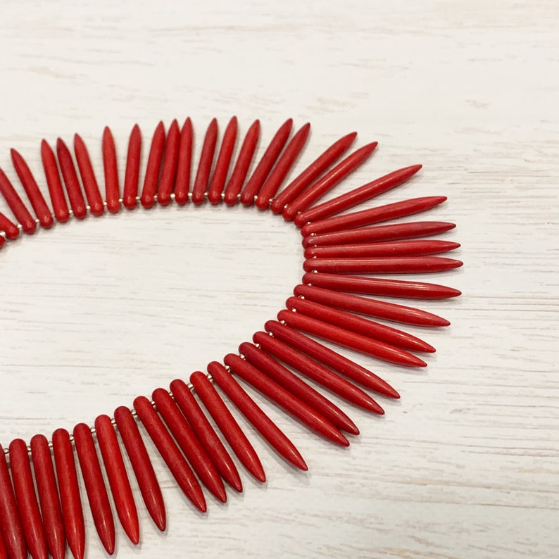 Red Tropical Necklace Red Spike Necklace Red Tribal Necklace Red Beachy Necklace Red Turquoise Spike Necklace Red Turquoise Necklace