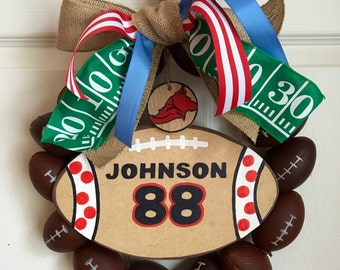 Personalized Football Wreath