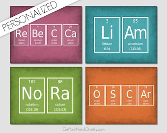 Periodic Table Of Elements Name Sign, Personalized Gifts, Custom Chemistry Art, Nerdy Nursery Decor