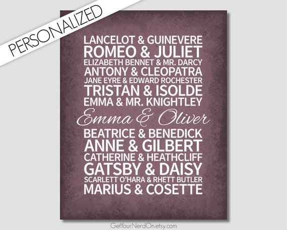 Famous Love Stories Valentines Day Gift Wedding Etsy