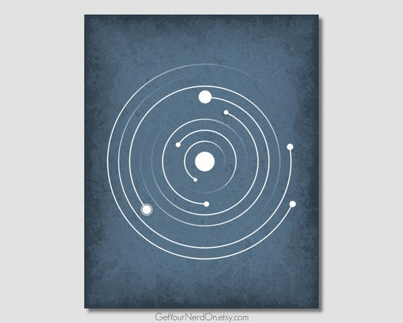 Planet Orbits Print Outer Space Wall Art Space Nursery Decor Modern Minimalist Solar System Print Astronomy Gift Ideas Nerdy Office Posters