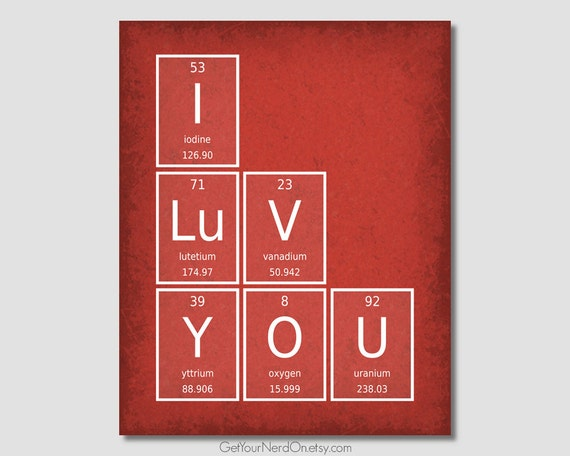 I Love You Poster Valentine S Day Gift Periodic Elements Etsy