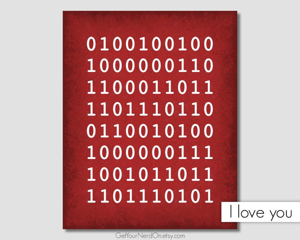 I Love You Binary Computer Science Art Binary Code Wall Art | Etsy