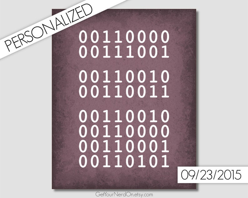 Computer Geek Gifts Custom Binary Code Important Dates Sign